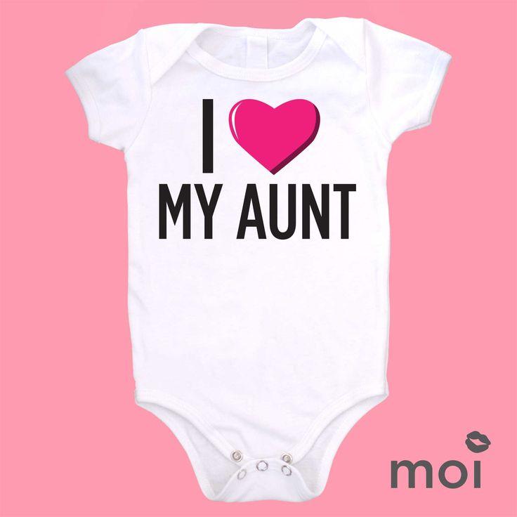 Baby Gift Aunt : Organic cotton i love my aunt bodysuit creeper baby