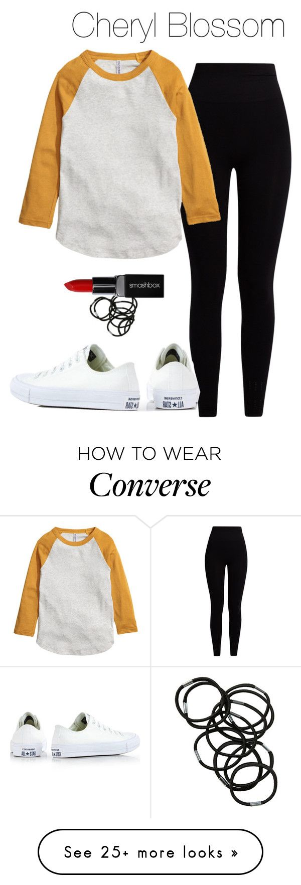 """Cheryl Blossom - Riverdale"" by shadyannon on Polyvore featuring Pepper & Mayne, Monki, Converse and Smashbox"