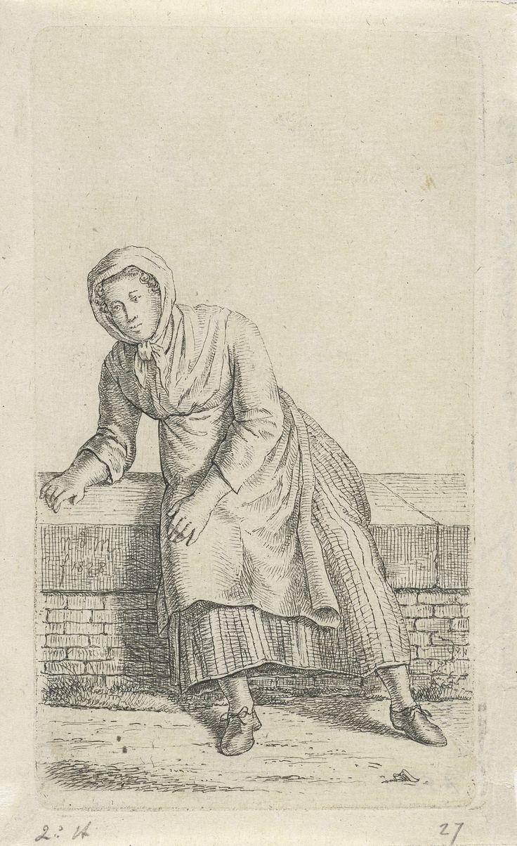 Anthonie Willem Hendrik Nolthenius de Man | Vrouw zittend op een muurtje, Anthonie Willem Hendrik Nolthenius de Man, 1828 | Een vrouw zittend op een muurtje, iets naar links gebogen. Prent uit een serie van twaalf prenten met studies van menselijke figuren.