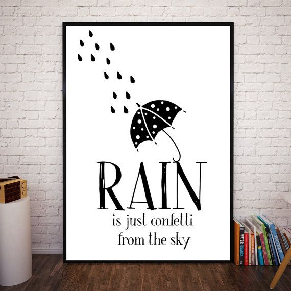 Rain is just Confetti from the Sky  by NordicPrintStudio on Etsy
