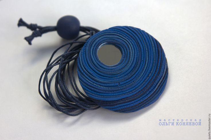 Купить Кулон Глаз Хамелеона круглый синий с зеркалом из полимерной глины - кулон на шнуре