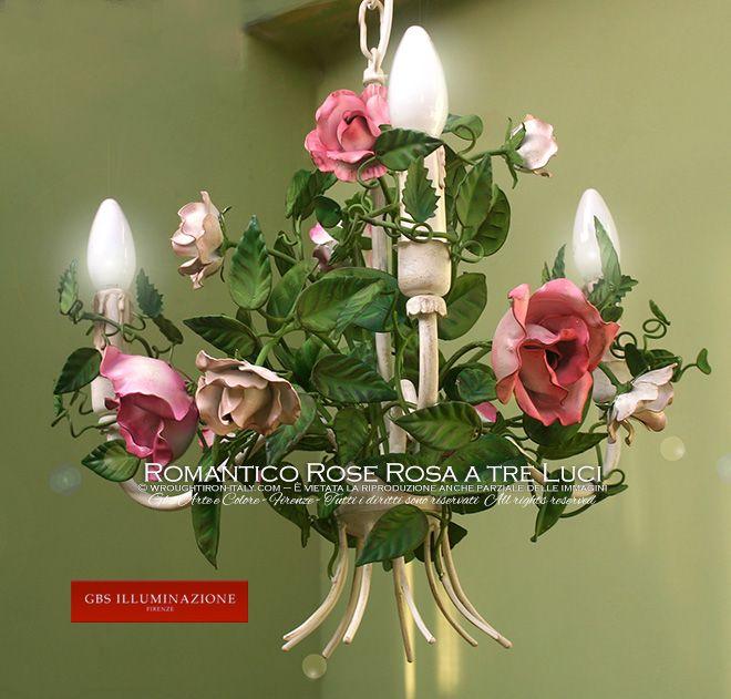 Piccolo Lampadario Romantico a tre luci | GBS Firenze – Ferro Battuto – Wrought Iron –