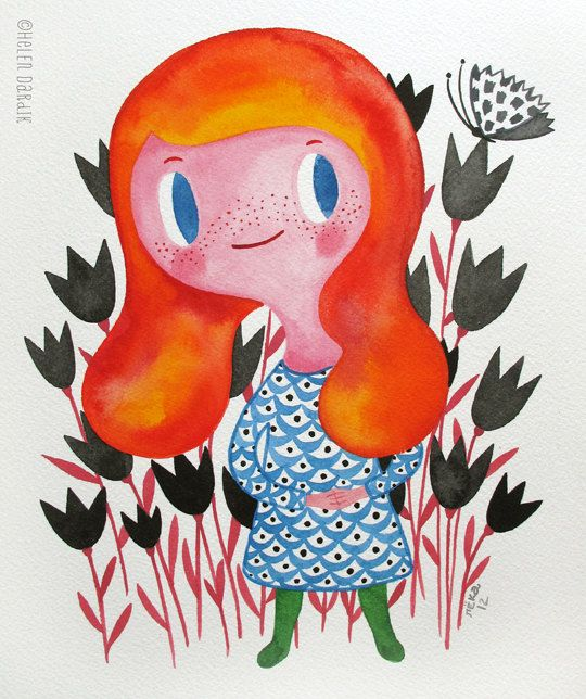 Little Red... original watercolor painting