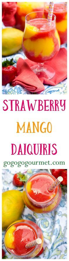 These Strawberry Mango Daiquiris are better than ANY concentrated mix- and just look at all that COLOR! | Go Go Go Gourmet @Go Go Go Gourmet
