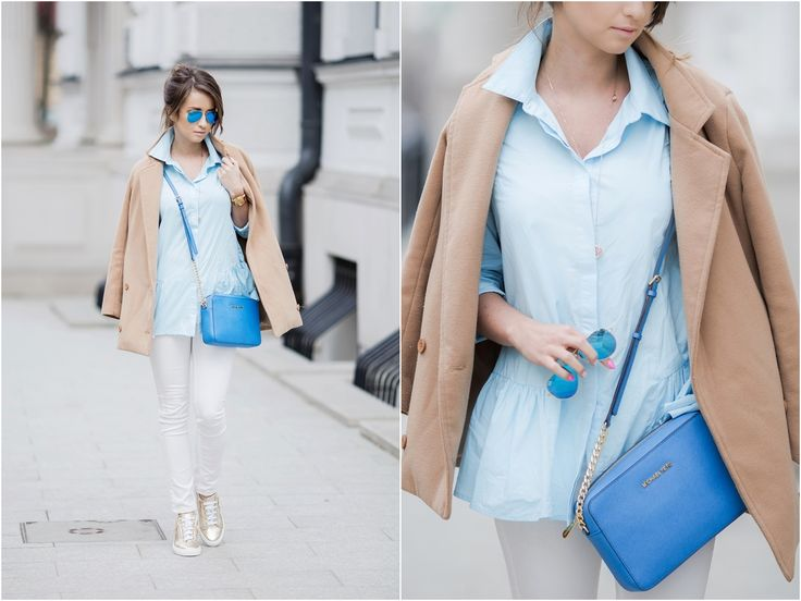 s t y l o l y: PALE BLUE SHIRT & GOLD SNEAKERS | OOTD