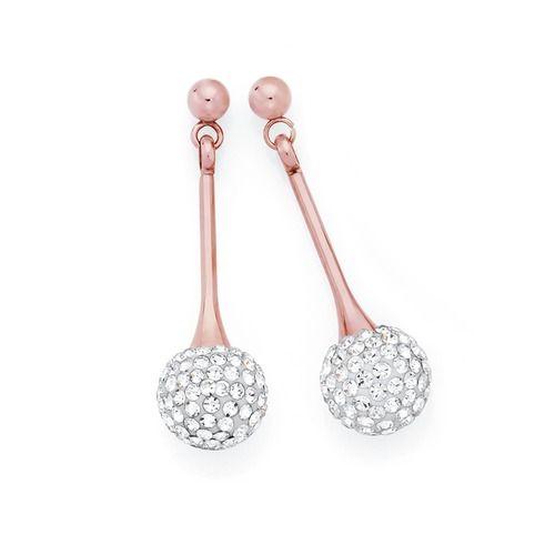 Stainless Steel Rose Plate Long Crystal Ball Drop Earrings