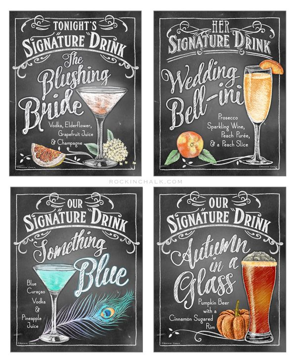 From bridal showers, rehearsal dinners and weddings, to milestone birthdays and theme parties, the options for clever signature drinks are truly endless and your sign can be as unique as your special event!   Rockin' Chalk's adorable chalkboard style prints will add character and charm to the bar. Choose any cocktail and have your very own personalized drink sign made in this style!