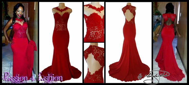 Red soft mermaid matric dance dress with a lace bodice, sleeveless and a diamond shaped open back. Illusion sweetheart neckline. With long train - East Rand