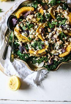 squash, kale and barley salad