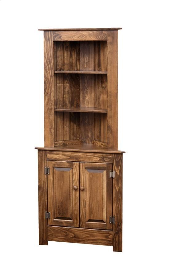 Pine Wood Farmhouse Corner Hutch with Open Top  Heritage Pine Collection  This handsome Amish made Farmhouse Corner Hutch is handcrafted of solid pine woodand available with different options for you to choose.