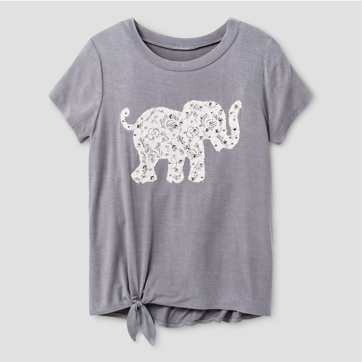 Girls' Miss Chievous Short Sleeve Top with Twist Front & Elephant Applique - Gray XL, Size: XL(14-16)