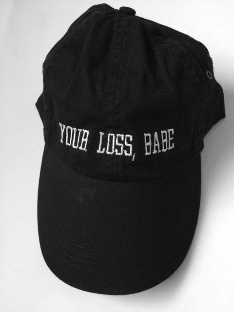 your loss babe black cap with white embroidery all good baby baby uh huh honey valdesigns baseball hat instagram tumblr pinterest by ValDesignsOnline on Etsy https://www.etsy.com/listing/277222946/your-loss-babe-black-cap-with-white