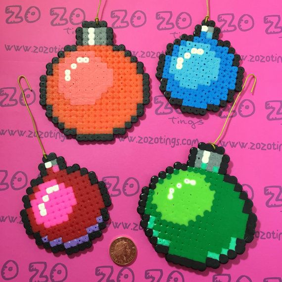 Four pixel baubles to make any tree stand out from the crowd.      ● Made from Perler/Hama Beads and part of our pixel range :)  ● Diameter is