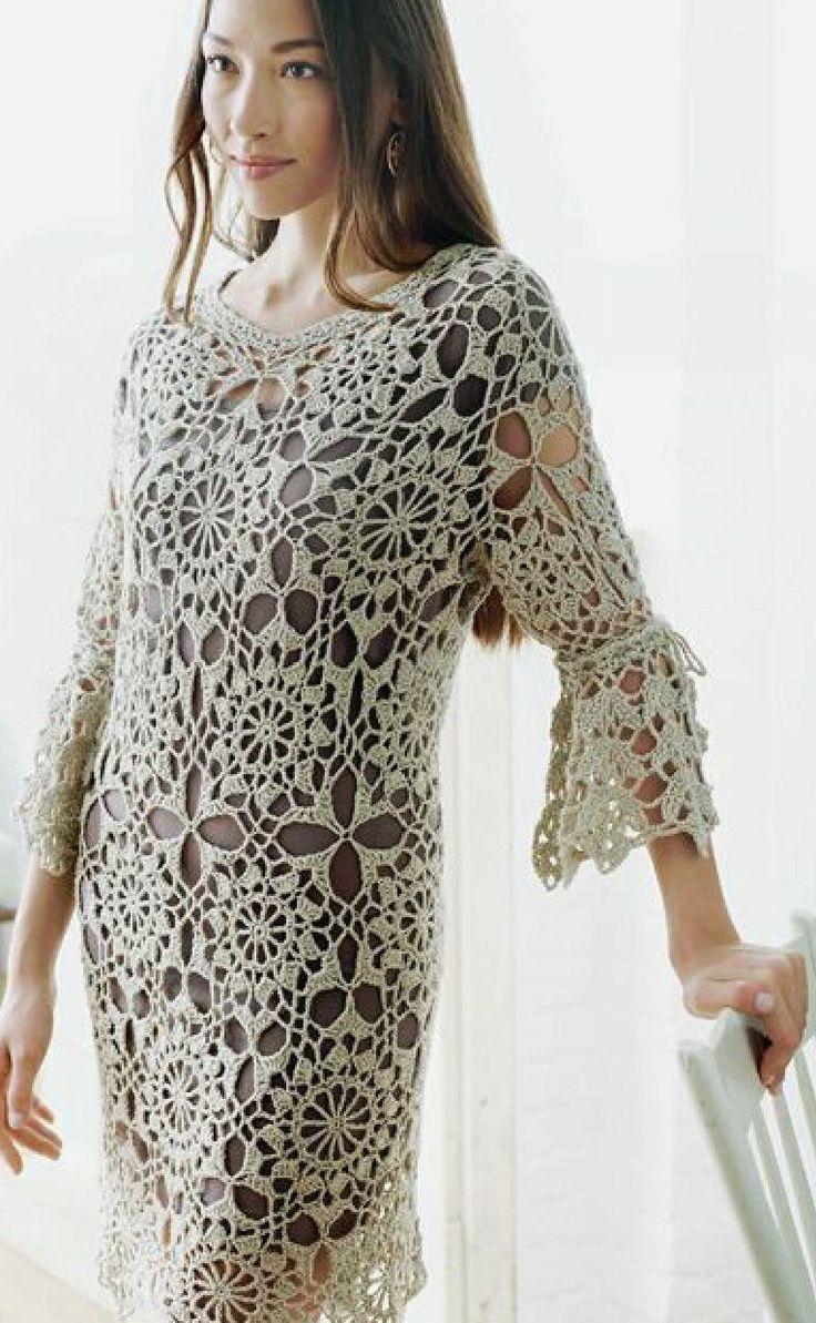478 best crochet vestidos images on pinterest crochet clothes crochetemoda vestido e blusa de crochet white crochet dressescrochet ombrellifo Image collections