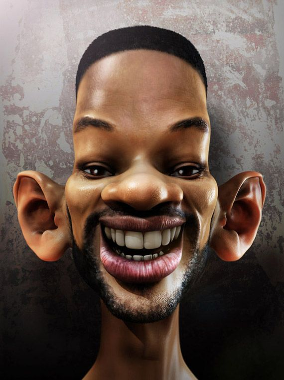 This is a caricature of actor Will Smith which includes exaggerated and enlarged facial features. http://en.wikipedia.org/wiki/Will_Smith