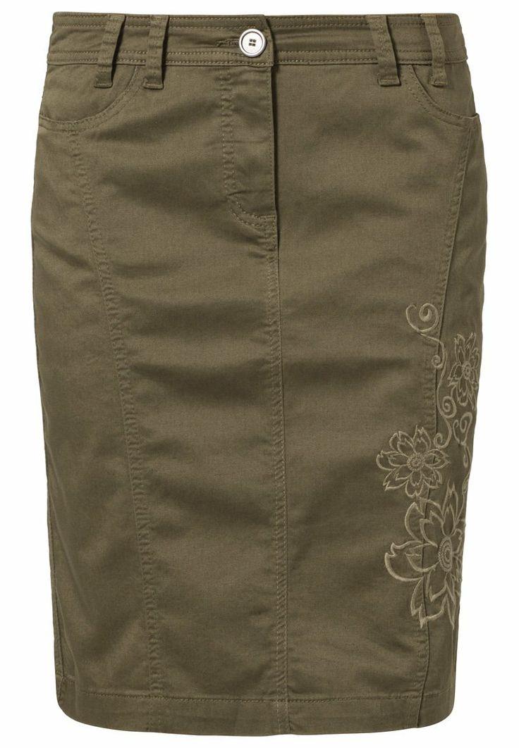 Anna Field - Falda de tubo - verde  Detalles: bolsillos verticales, cremallera Material exterior: 98% algodón, 2% elastano