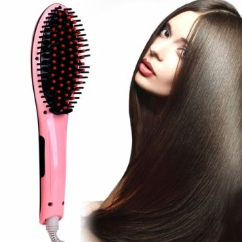 ACEVIVI Pink Digital Electric Hair Straightener Comb Heating Detangling Hair Brush EU/ US/ UK /AU Plug