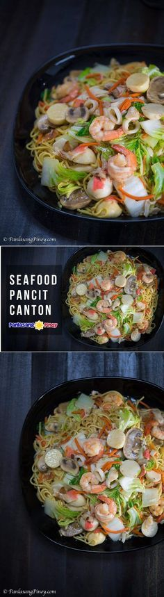 Seafood Pancit Canton is somewhat similar to regular pancit canton and saucy pancit canton, except that it does not contain any meat. It is composed of seafood such as shrimp and squid along with crab meat (I used imitation to get a bit of chunk) and squid balls. It also has mushroom, Napa cabbage, and carrots.