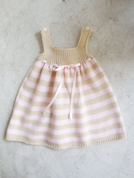Darling - Pink and Beige Knitted Dress  100 wool  by LittleStarsPT on Etsy, $39.90