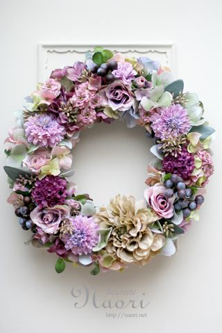 秋色紫陽花のリース ダリアとローズ