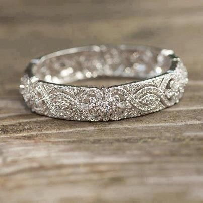 Fantastic Jewelry Vintage Wedding Ring To Go With Simple Diamond Engagement Band