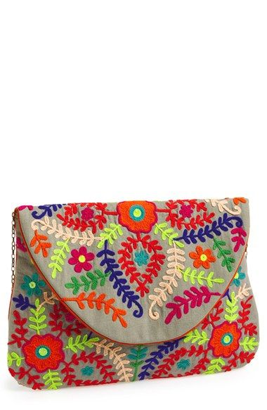 Big Buddha 'Large' Embroidered Clutch available at #Nordstrom                                                                                                                                                                                 Más
