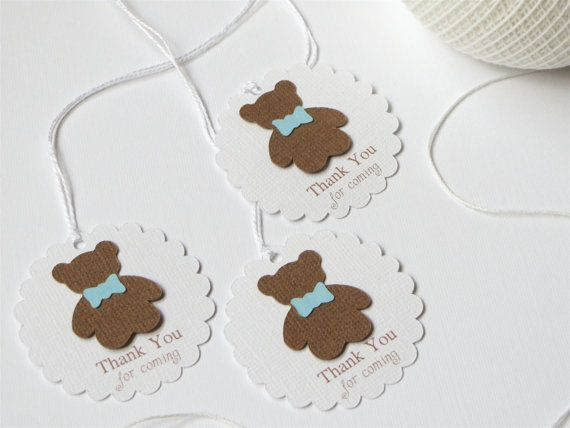 Boy baby shower thank you tags, Blue baby boy shower favor tags, Teddy bear party tags, Teddy bear baby shower gift tag