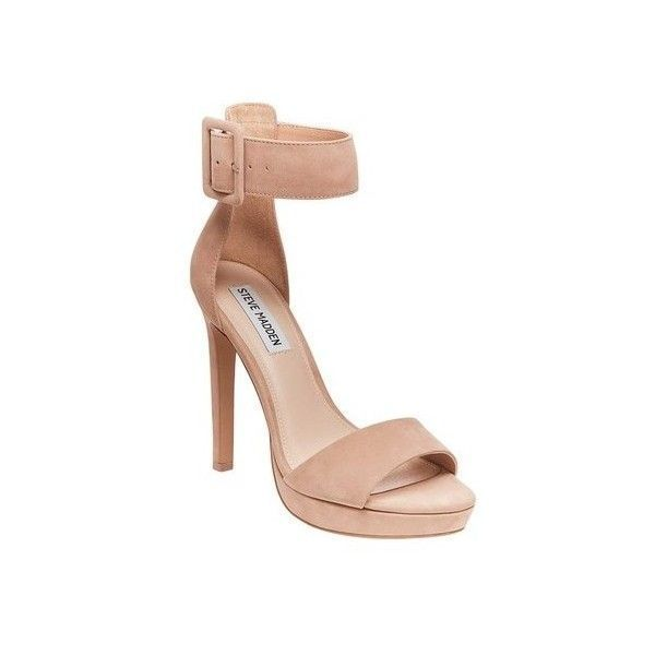 Women's Steve Madden Circuit Stiletto Sandal ($70) ❤ liked on Polyvore featuring shoes, sandals, casual, heels, tan, ankle strap heel sandals, heels stilettos, high heel stilettos, platform sandals and tan high heel sandals #tansandalsheels #sandalsheelsanklestrap