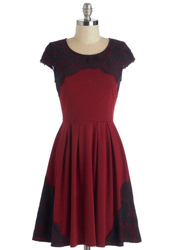 Intermission Impossible Dress. Eager to meet your theater heroes, you tiptoe backstage in this red, cap-sleeved dress. #gold #prom #modcloth