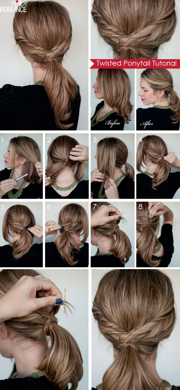 1. Clip away two sections of hair either side of your face. 2. Put the rest of your hair in a ponytail and secure with elastic. 3. Separate the side section into three parts. 4-5. Starting with the lowest section, twist the hair up and wrap it around your ponytail and secure end. 6. Repeat on the other side and continue twisting and pinning each section. 7-8. A tip for keeping the ends in place is to tease the end of each section and put the bobby pin on the end of the section of hair.
