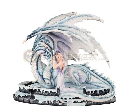 Large Scale Snow Goddess Fairy with Dragon Pet Mystical Figurine