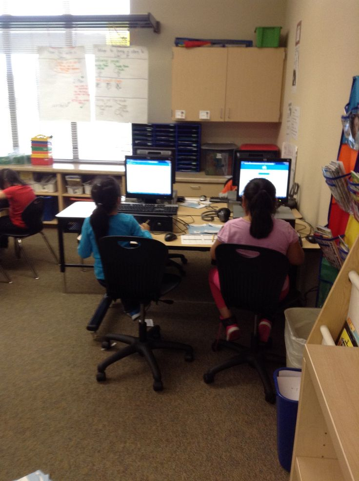 Sarah Gerhardt's Second Graders take turns on an ExitTicket station http://exitticket.org/making-edtech-work-with-k-2/