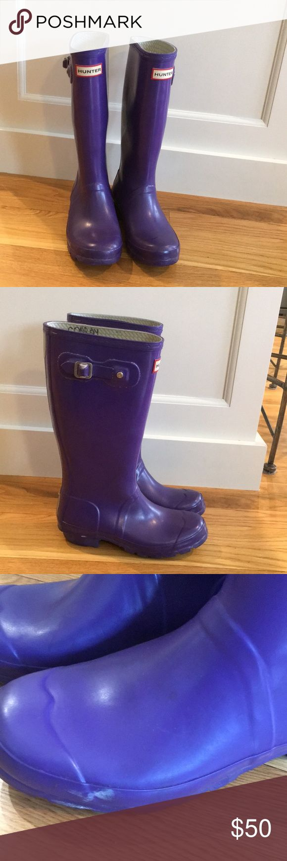 Youth Hunter Boots Used but in good condition bright purple Hunter boots. Keep those feet dry and brighten the day with these boots! Name is written inside as shown. Hunter Boots Shoes Boots
