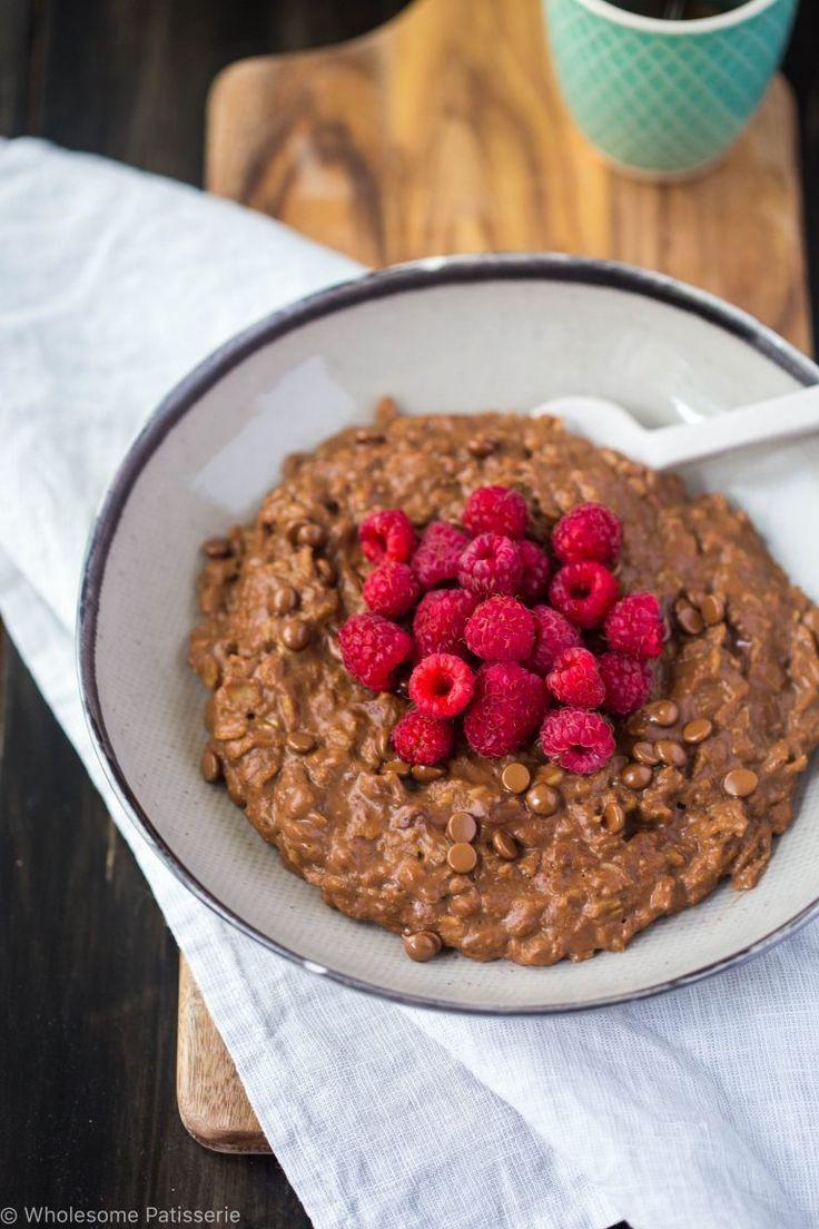 Schokoladen-Himbeer-Haferflocken-glutenfrei-vegan-vegetarisch-milchfreies Frühstück-gesund-bio