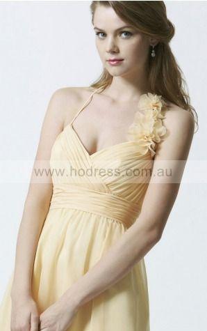 Chiffon Spaghetti Straps Natural A-line Knee-length Bridesmaid Dresses 0740610--Hodress