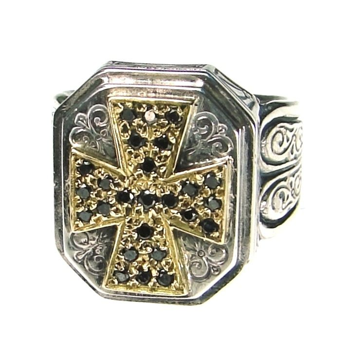 Gerochristo black diamonds ring in gold 18ct and sterling silver