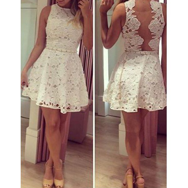 Sexy Sleeveless Round Collar Solid Color Hollow Out Women's Dress