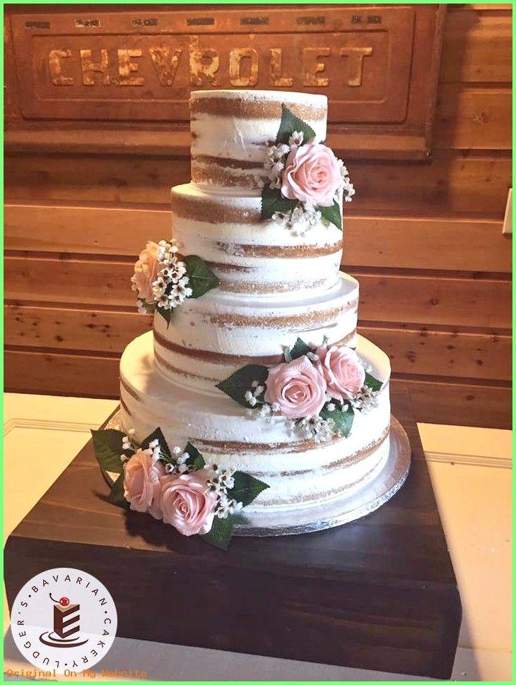DIY Wedding Bouquet – ¡Hermoso pastel de bodas! Un pastel de bodas desnudo con flores artificiales.