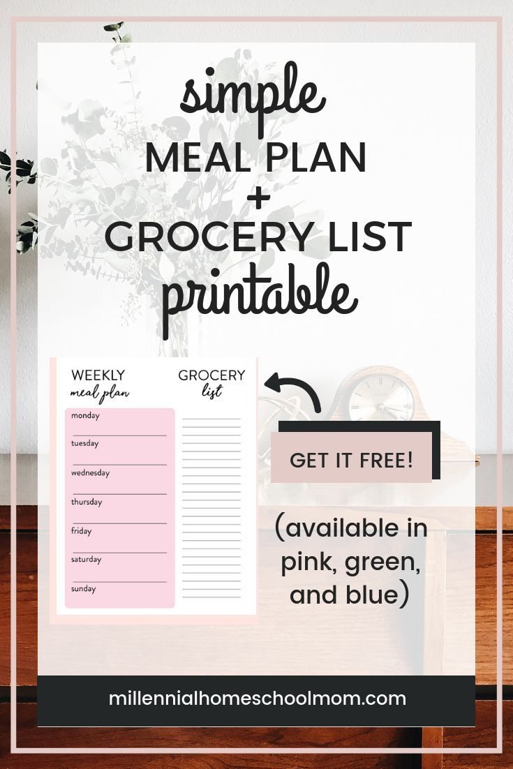 free simple weekly meal plan grocery list printable printables