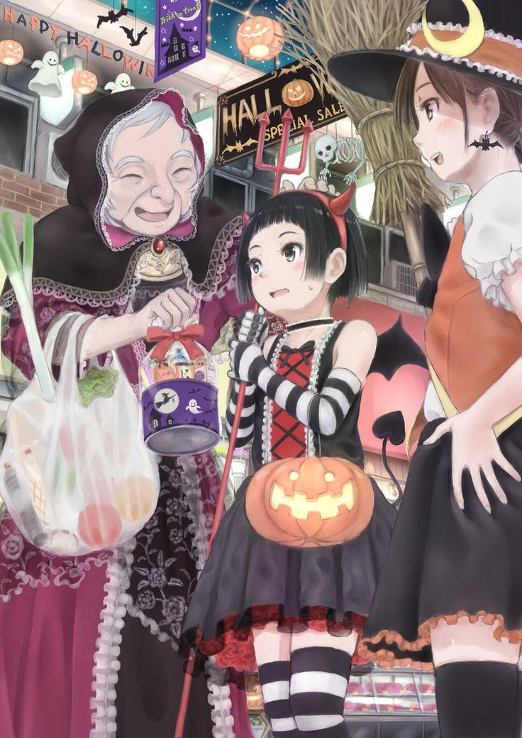 happy halloween anime drawing