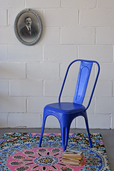 french cafe chair blue