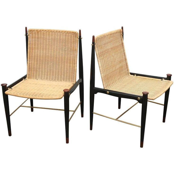 Pair Of Frank Kyle Mexican Modernist Rosewood, Brass And Wicker Lounge  Chairs Ca.1950u0027s