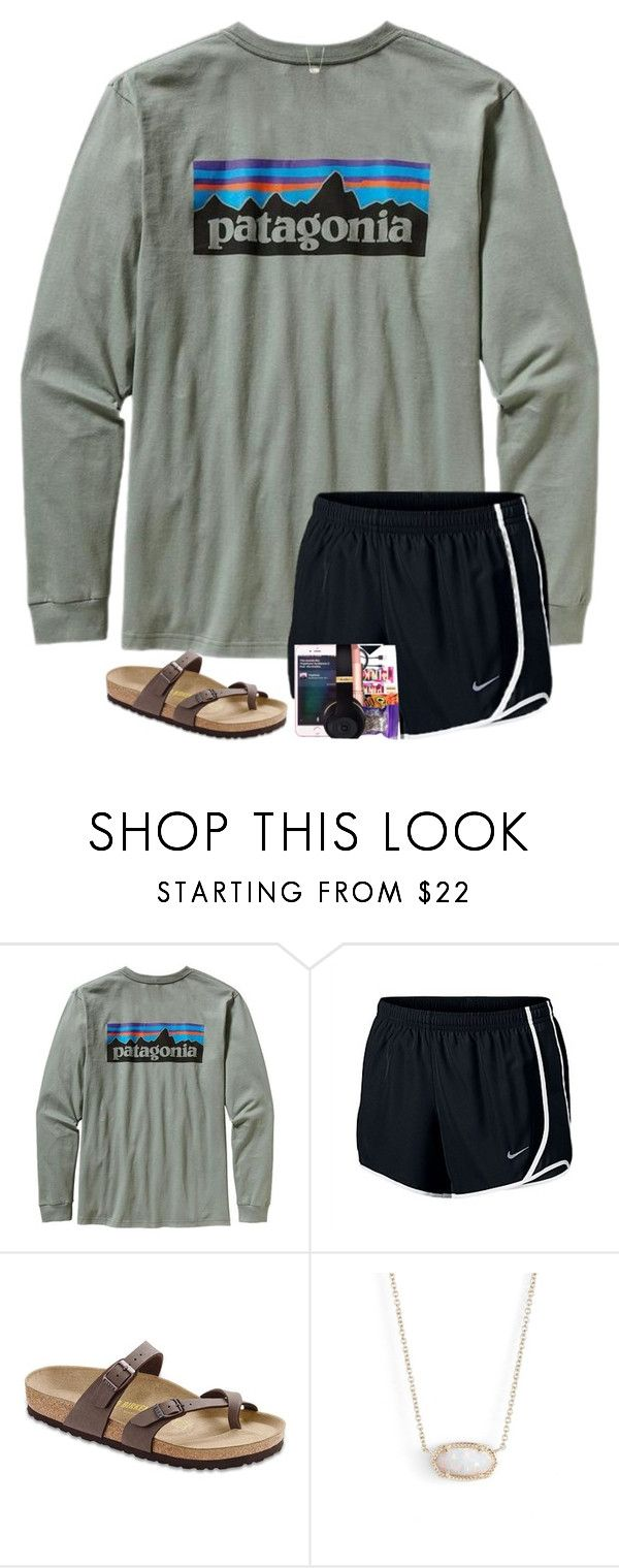 """""""I'm starting piano lessons, wish me luck! I'm praying that I can get good enough to start playing in church! :)"""" by preppyandsouthern17 ❤ liked on Polyvore featuring Patagonia, NIKE, Birkenstock and Kendra Scott"""