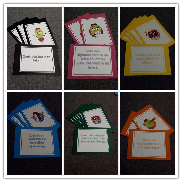 Begrijpend lezen spel. Na wat inspiratie te hebben opgedaan, heb ik een begrijpend lezen spel gemaakt. De kaarten zijn gemaakt aan de hand van de nieuwe Nieuwsbegrip pictogrammen. Als de kinderen een vraag of opdracht goed uitvoeren, mogen zij de kaart houden. Het kind met de meeste kaarten wint.