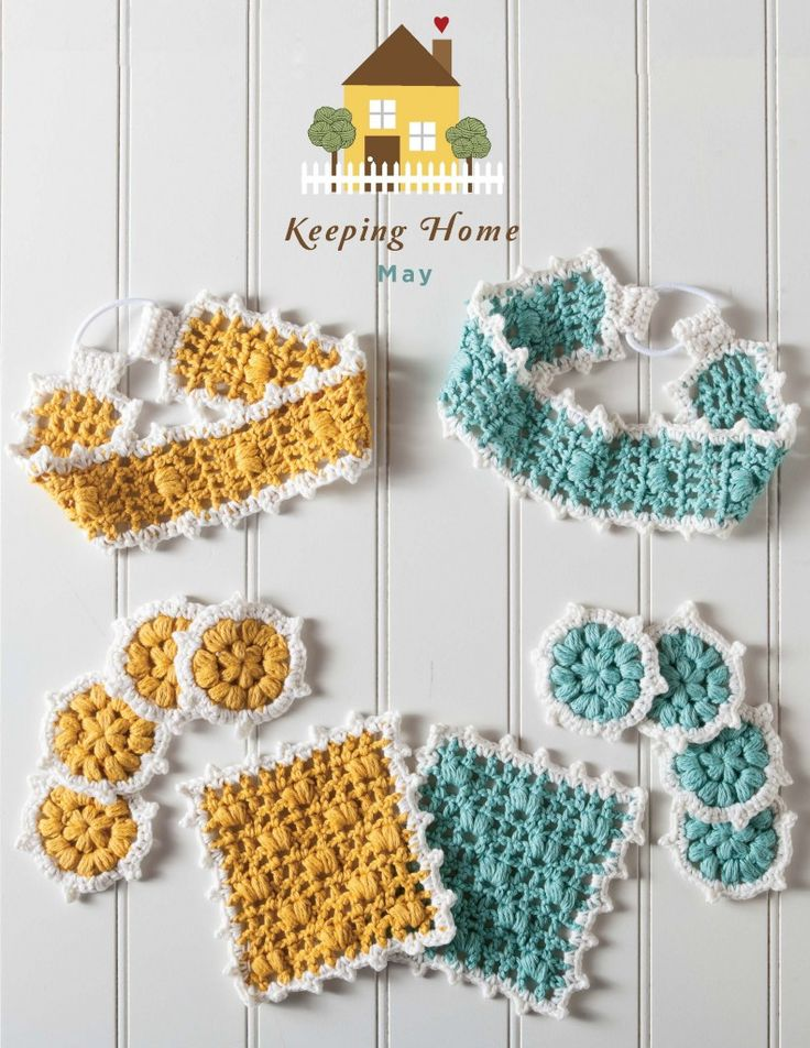 Free Kawaii Crochet Pattern - spring spa set! Headband, washcloths, scrubbies