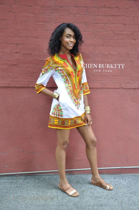 African Print Dress Kente Shirt Dress by CHENBURKETTNY on Etsy