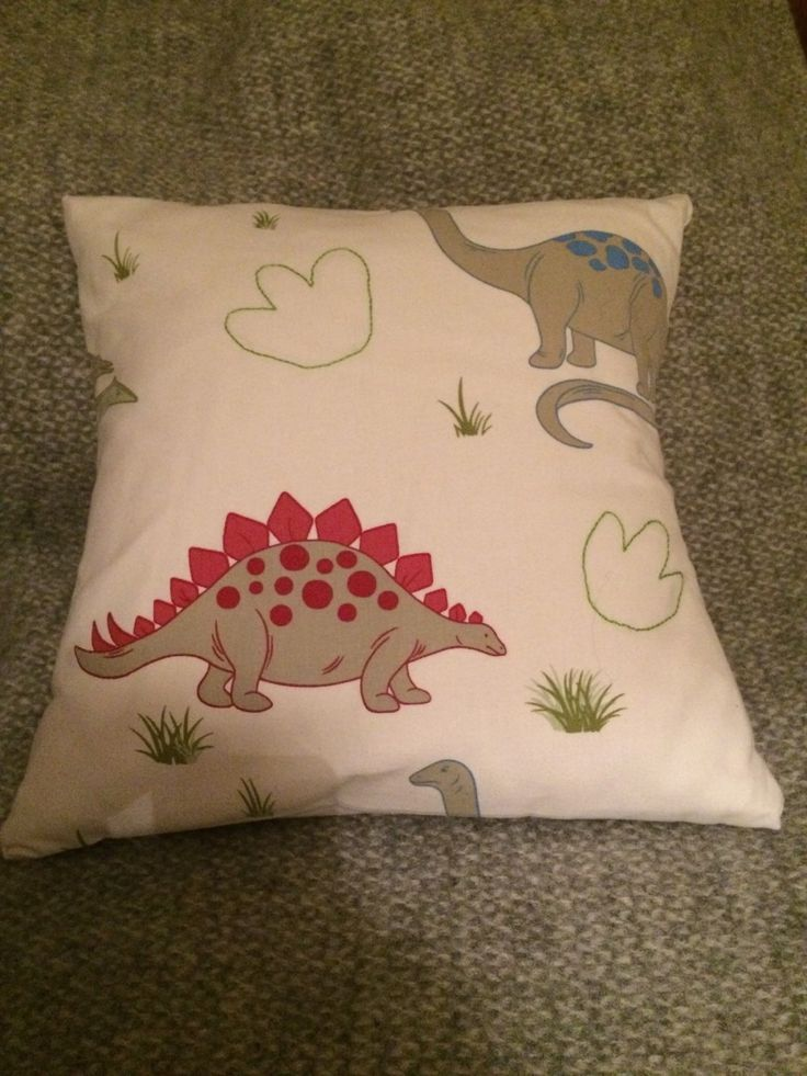 Dinosaur Cushion with Hand Stitched Footprints by FreddieMouse on Etsy