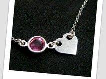 Minimalistyczne serduszko i kamień swarovskiego <3 http://pl.dawanda.com/product/75269827-Srebrne-serce-celebrytki-z-kamieniem-swarovskiego