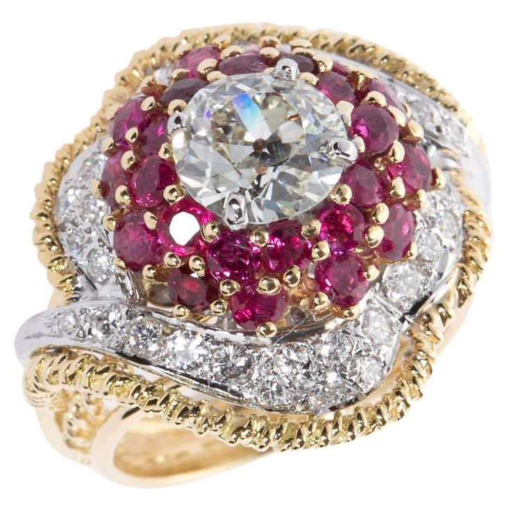 Circa 1960s Old European Cut Diamond Ruby Gold Cocktail Ring