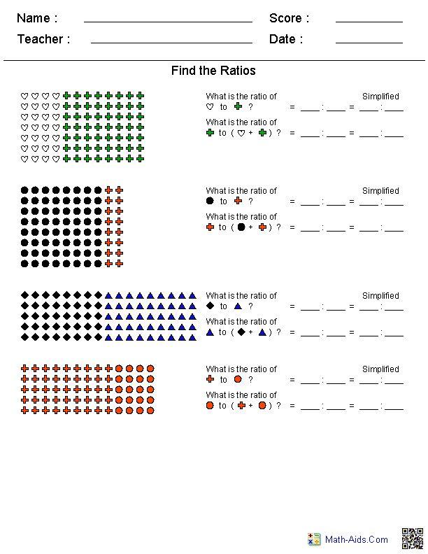 Simple Ratios Worksheets
